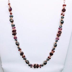 Garnet, hematite, 14kt gold filled necklace
